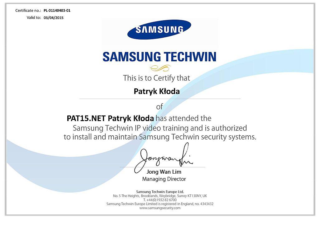 Certyfikat Samsung Techwin - Autoryzowany Instalator Kamer Monitoringu IP